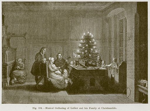 Musical Gathering of Luther and his Family at Christmastide. Illustration for The History of Music by Emil Naumann (Cassell, c 1890).
