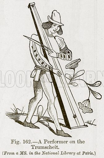 A Performer on the Trumscheit. Illustration for The History of Music by Emil Naumann (Cassell, c 1890).