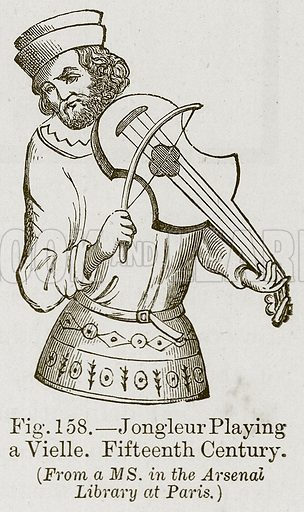 Jongleur Playing a Vielle. Fifteenth Century. Illustration for The History of Music by Emil Naumann (Cassell, c 1890).