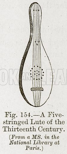 A Five Stringed Lute of the Thirteenth Century. Illustration for The History of Music by Emil Naumann (Cassell, c 1890).