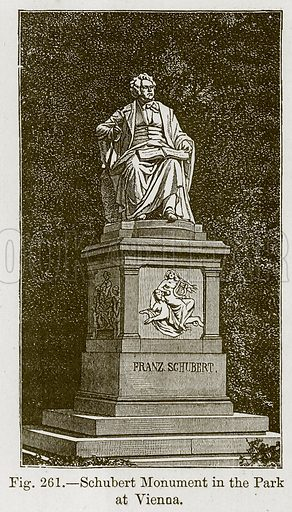 Schubert Monument in the Park at Vienna. Illustration for The History of Music by Emil Naumann (Cassell, c 1890).