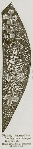 An Angel Performing on a Stringed Instrument. Illustration for The History of Music by Emil Naumann (Cassell, c 1890).