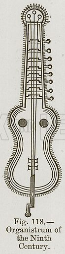 Organistrum of the Ninth Century. Illustration for The History of Music by Emil Naumann (Cassell, c 1890).