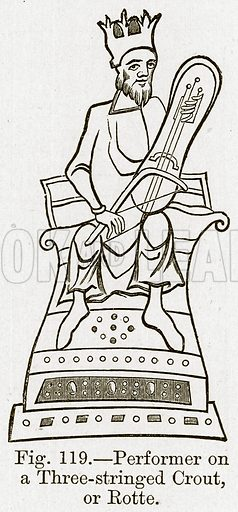 Performer on a Three-Stringed Crout, or Rotte. Illustration for The History of Music by Emil Naumann (Cassell, c 1890).