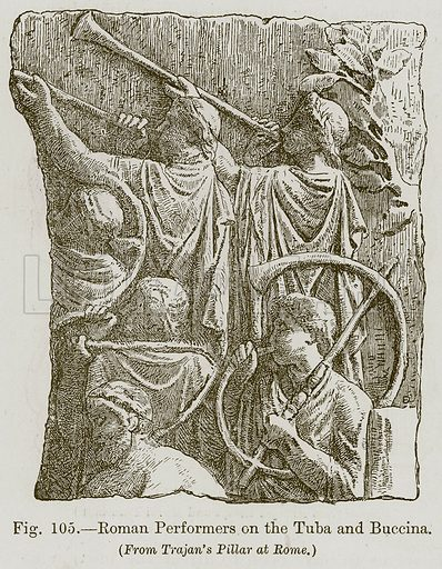 Roman Performers on the Tuba and Buccina. Illustration for The History of Music by Emil Naumann (Cassell, c 1890).