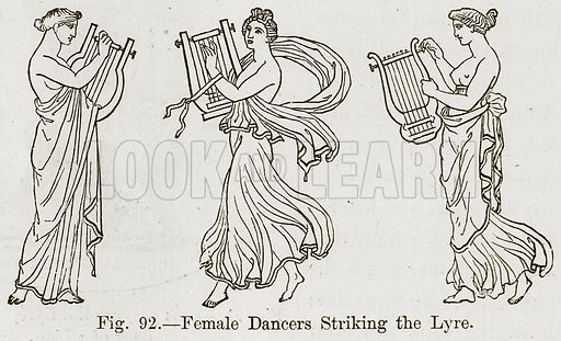 Female Dancers Striking the Lyre. Illustration for The History of Music by Emil Naumann (Cassell, c 1890).