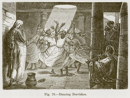 Dancing Dervishes. Illustration for The History of Music by Emil Naumann (Cassell, c 1890).