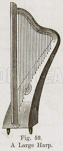 A Large Harp. Illustration for The History of Music by Emil Naumann (Cassell, c 1890).