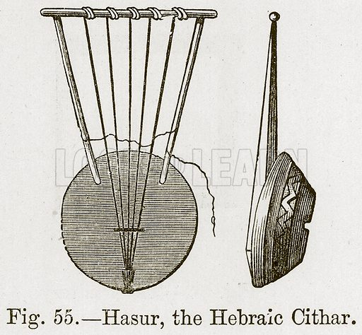 Hasur, the Hebraic Cithar. Illustration for The History of Music by Emil Naumann (Cassell, c 1890).