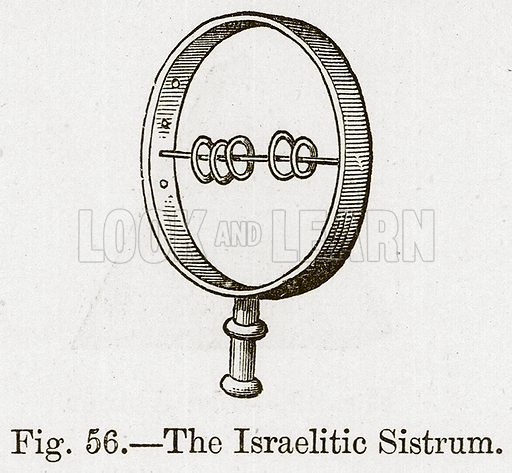 The Israelitic Sistrum. Illustration for The History of Music by Emil Naumann (Cassell, c 1890).