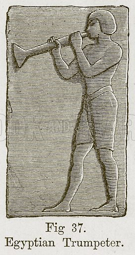 Egyptian Trumpeter. Illustration for The History of Music by Emil Naumann (Cassell, c 1890).
