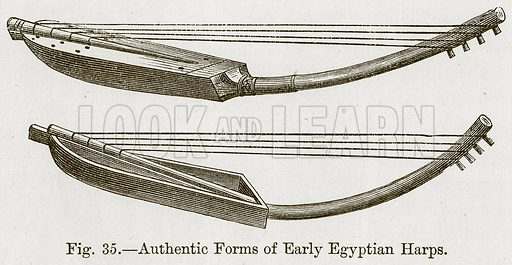 Authentic Forms of Early Egyptian Harps. Illustration for The History of Music by Emil Naumann (Cassell, c 1890).