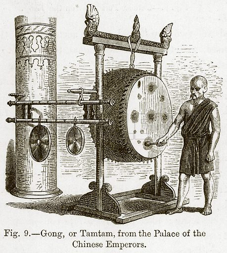Gong, or Tamtam, from the Palace of the Chinese Emperors. Illustration for The History of Music by Emil Naumann (Cassell, c 1890).