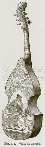 Viola da Gamba. Illustration for The History of Music by Emil Naumann (Cassell, c 1890).
