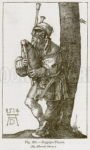 Bagpipe-Player. Illustration for The History of Music by Emil Naumann (Cassell, c 1890).