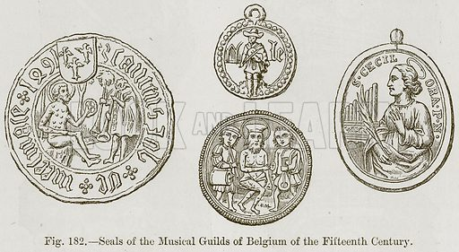 Seals of the Musical Guilds of Belgium of the Fifteenth Century. Illustration for The History of Music by Emil Naumann (Cassell, c 1890).