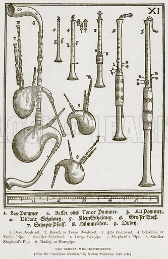 1. Bass Bombazet. 2. Basset, or Tenor Bombazet. 3. Alto Bombazet. 4. Schalmei, or Treble Pipe. 5. Smaller Schalmei. 6. Large Bagpipe. 7. Shepherd's Pipe. 8. Smaller Shepherd's Pipe. 9. Dudey, or Hornpipe. Old German Wind-Instruments. Illustration for The History of Music by Emil Naumann (Cassell, c 1890).