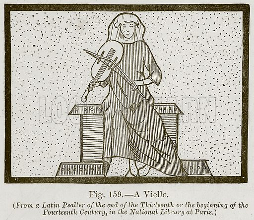 A Vielle. Illustration for The History of Music by Emil Naumann (Cassell, c 1890).
