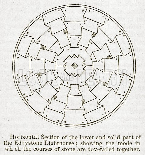 Horizontal Section of the Lower and Solid Part of the Eddystone Lighthouse: Showing the Mode in which the Courses of Stone are Dovetailed together. Illustration for Old England's Worthies (Sangster, c 1860).