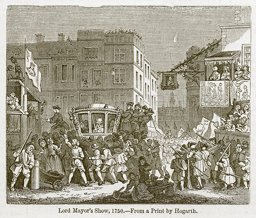Lord Mayor's Show, 1750. Illustration for Old England's Worthies (Sangster, c 1860).