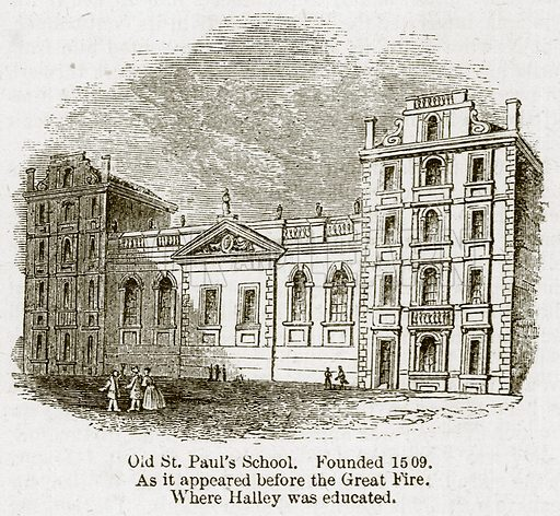 Old St Paul's School. Founded 1509. As it Appeared before the Great Fire. Where Halley was Educated. Illustration for Old England's Worthies (Sangster, c 1860).
