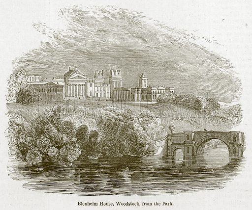 Blenheim House, Woodstock, from the Park. Illustration for Old England's Worthies (Sangster, c 1860).