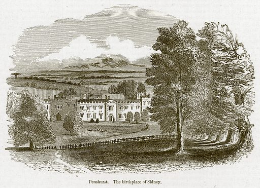 Penshurst. The Birthplace of Sidney. Illustration for Old England's Worthies (Sangster, c 1860).