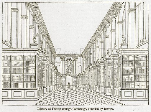 Library of Trinity College, Cambridge, founded by Barrow. Illustration for Old England's Worthies (Sangster, c 1860).
