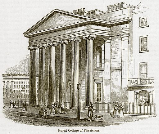Royal College of Physicians. Illustration for Old England's Worthies (Sangster, c 1860).