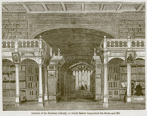 Interior of the Bodleian Library, to which Selden Bequeathed his Books and Ms Illustration for Old England's Worthies (Sangster, c 1860).