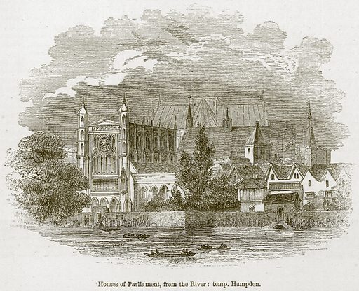 House of Parliament, from the River: Temp. Hampden. Illustration for Old England's Worthies (Sangster, c 1860).