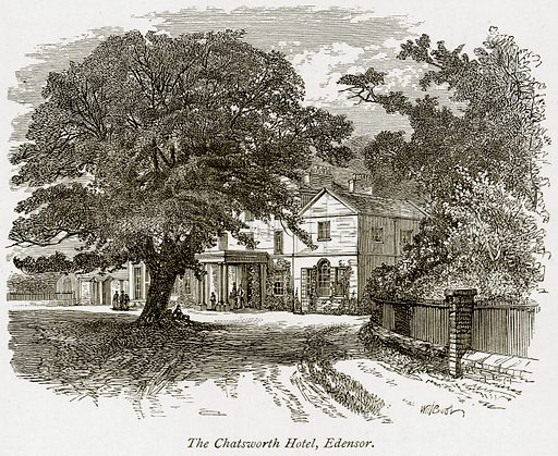 The Chatsworth Hotel, Edensor. Illustration from The Stately Homes of England by Llewellynn Jewitt and SC Hall (Virtue, 1877).