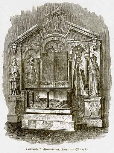Cavendish Monument, Edensor Church. Illustration from The Stately Homes of England by Llewellynn Jewitt and SC Hall (Virtue, 1877).