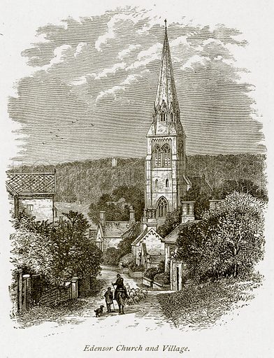 Edensor Church and Village. Illustration from The Stately Homes of England by Llewellynn Jewitt and SC Hall (Virtue, 1877).