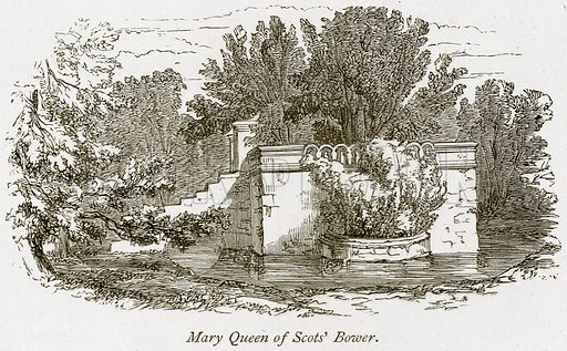 Mary Queen of Scots' Bower. Illustration from The Stately Homes of England by Llewellynn Jewitt and SC Hall (Virtue, 1877).