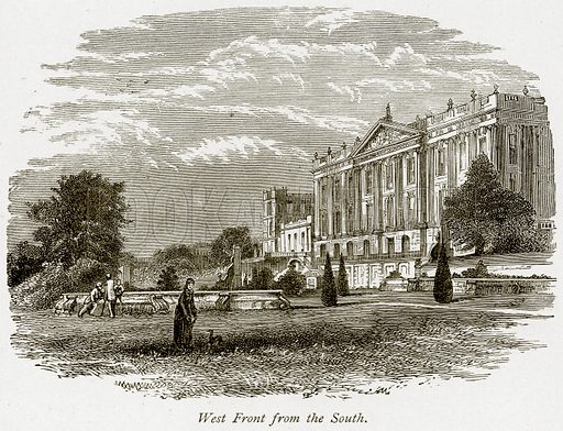 West Front from the South. Illustration from The Stately Homes of England by Llewellynn Jewitt and SC Hall (Virtue, 1877).
