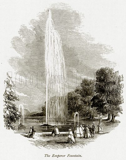 The Emperor Fountain. Illustration from The Stately Homes of England by Llewellynn Jewitt and SC Hall (Virtue, 1877).
