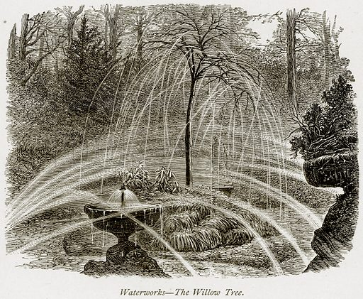 Waterworks – The Willow Tree. Illustration from The Stately Homes of England by Llewellynn Jewitt and SC Hall (Virtue, 1877).