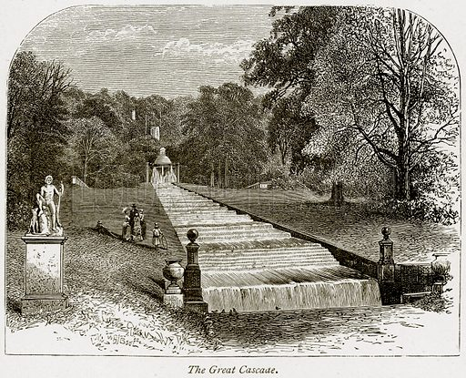 The Great Cascade. Illustration from The Stately Homes of England by Llewellynn Jewitt and SC Hall (Virtue, 1877).