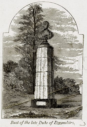 Bust of the Late Duke of Devonshire. Illustration from The Stately Homes of England by Llewellynn Jewitt and SC Hall (Virtue, 1877).