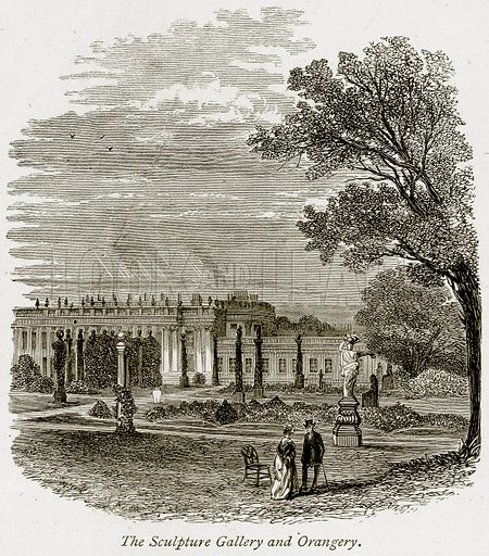 The Sculpture Gallery and Orangery. Illustration from The Stately Homes of England by Llewellynn Jewitt and SC Hall (Virtue, 1877).
