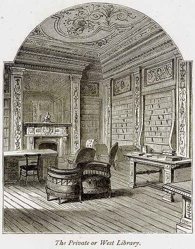 The Private or West Library. Illustration from The Stately Homes of England by Llewellynn Jewitt and SC Hall (Virtue, 1877).