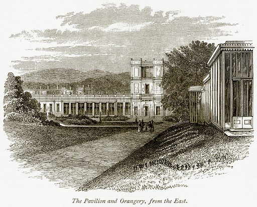 The Pavilion and Orangery, from the East. Illustration from The Stately Homes of England by Llewellynn Jewitt and SC Hall (Virtue, 1877).