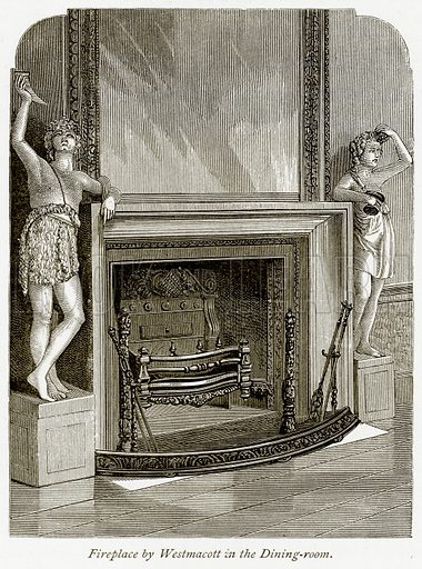 Fireplace by Westmacott in the Dining-Room. Illustration from The Stately Homes of England by Llewellynn Jewitt and SC Hall (Virtue, 1877).
