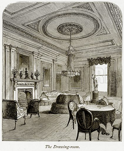 The Drawing-Room. Illustration from The Stately Homes of England by Llewellynn Jewitt and SC Hall (Virtue, 1877).