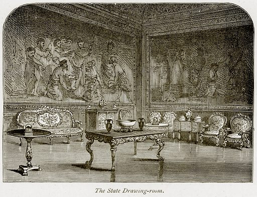 The State Drawing-Room. Illustration from The Stately Homes of England by Llewellynn Jewitt and SC Hall (Virtue, 1877).