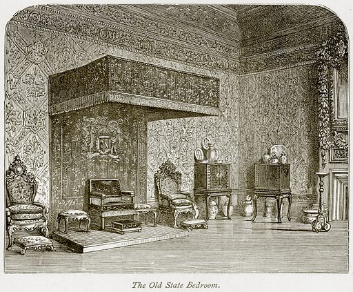The Old State Bedroom. Illustration from The Stately Homes of England by Llewellynn Jewitt and SC Hall (Virtue, 1877).