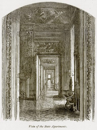 Vista of the State Apartments. Illustration from The Stately Homes of England by Llewellynn Jewitt and SC Hall (Virtue, 1877).