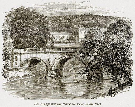 The Bridge over the River Derwent, in the Park. Illustration from The Stately Homes of England by Llewellynn Jewitt and SC Hall (Virtue, 1877).