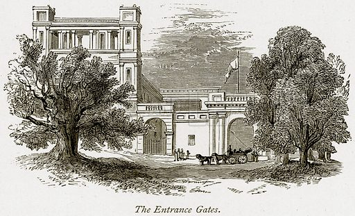 The Entrance Gates. Illustration from The Stately Homes of England by Llewellynn Jewitt and SC Hall (Virtue, 1877).